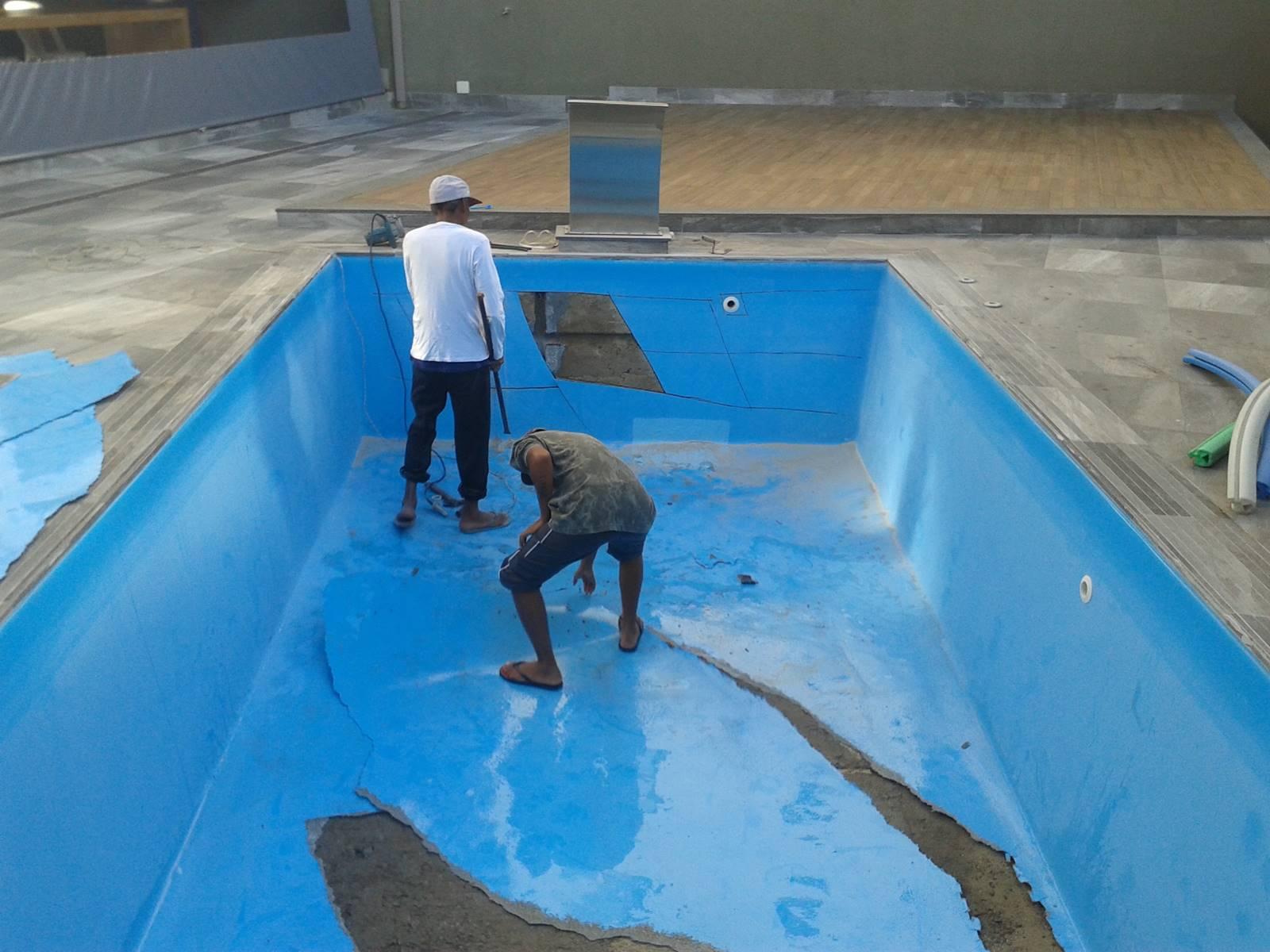Transformação de piscina de fibra em vinil