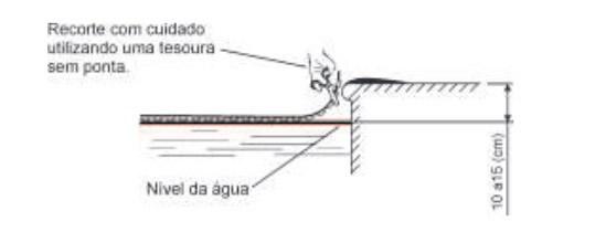 Instalação da capa térmica na piscina