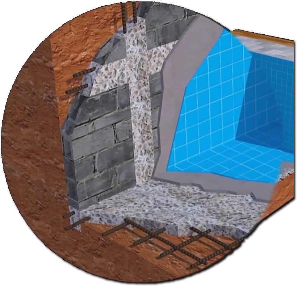 Detalhe da estrutura da piscina de alvenaria