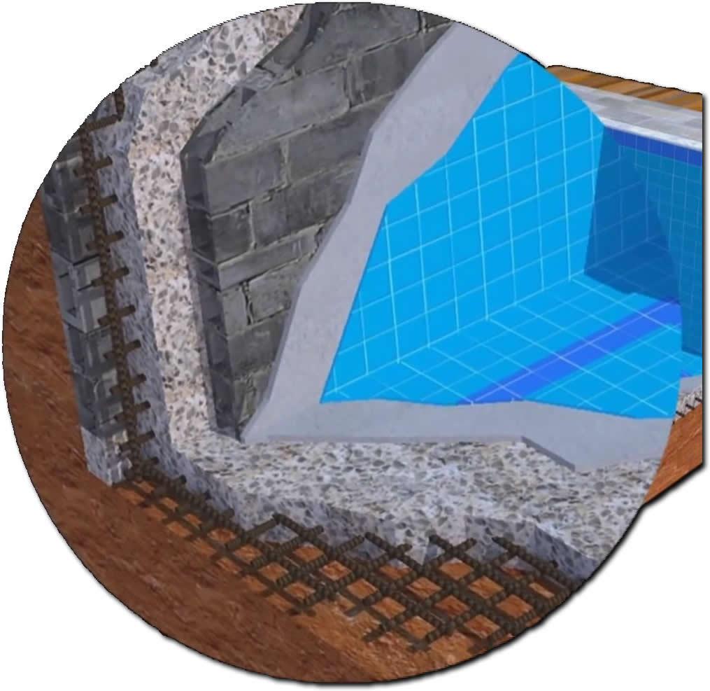 Detalhe da estrutura da piscina de concreto armado