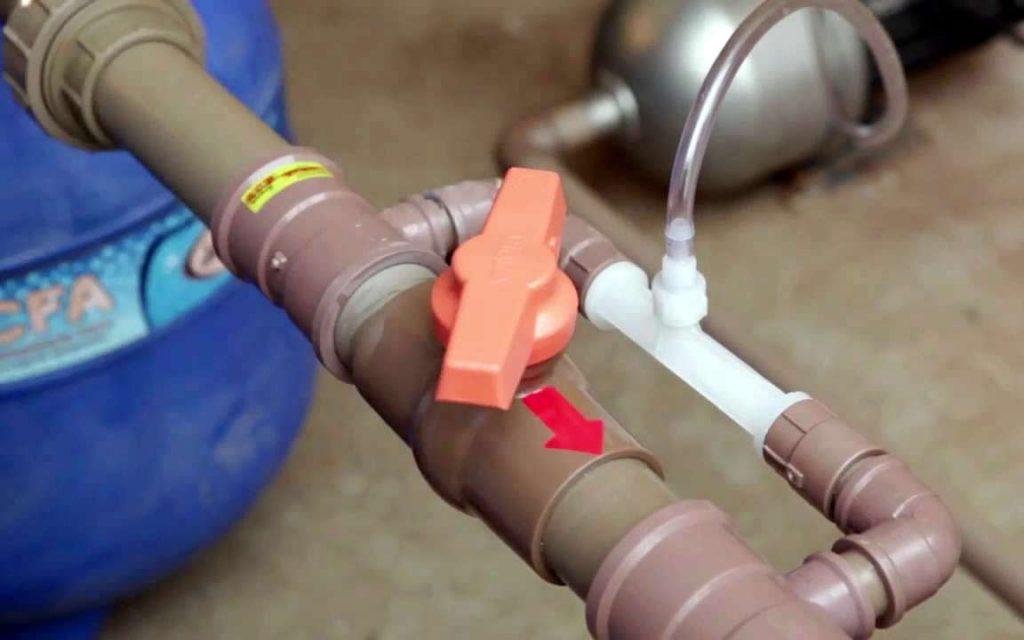 Injeção de ozônio na tubulação