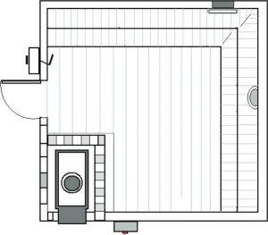 Vista aérea da instalação da sauna seca a gás